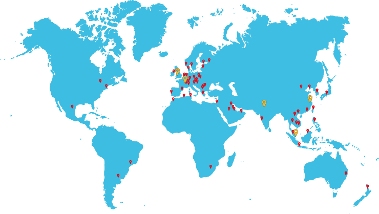 Global Map Showing Offices and Distributors